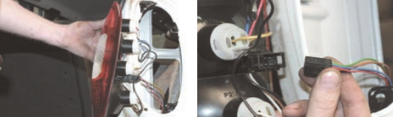 Замена и снятие задних фонарей